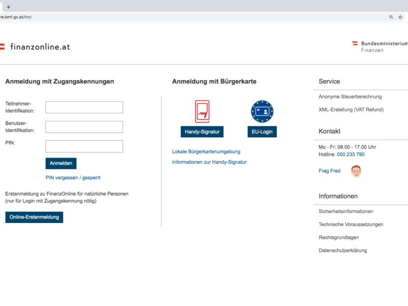 Screenshot Finanzonline Registrierung